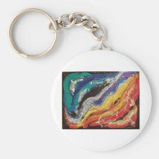 Peinture de corde d'arc-en-ciel porte-clé rond