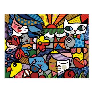 Peinture de couleur d'art abstrait carte postale