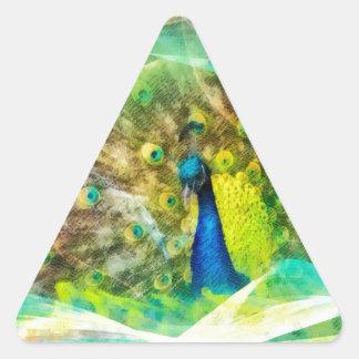 Peinture de Digitals de paon Sticker Triangulaire