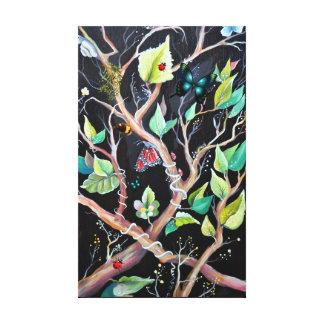 Peinture de feuille et de papillons toile