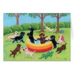 Peinture de Labradors d'amusement d'été Cartes De Vœux
