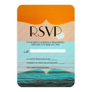 Peinture de lever de soleil de plage dans le ciel carton d'invitation 8,89 cm x 12,70 cm