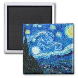 Peinture de nuit étoilée par le peintre Vincent va Magnet Carré