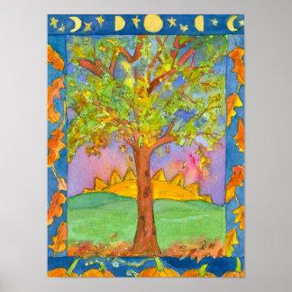 Peinture de paysage d'aquarelle d'arbre de coucher poster