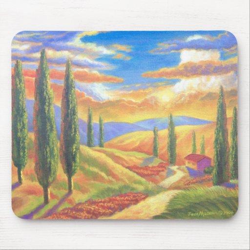 Peinture de paysage de la toscane - multi tapis de souris