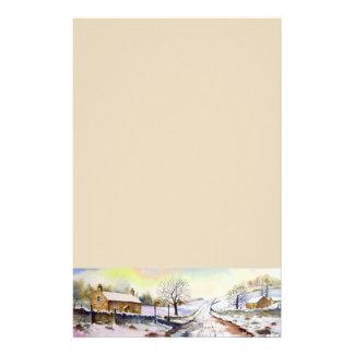 Peinture de paysage hivernale d'aquarelle de papeterie