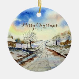 Peinture de paysage hivernale de ruelle ornement rond en céramique
