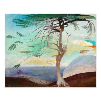 Peinture de paysage isolée d'arbre de cèdre prospectus 11,4 cm x 14,2 cm