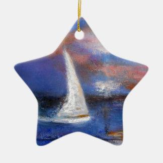 Peinture de paysage marin de voile de port de ornement étoile en céramique