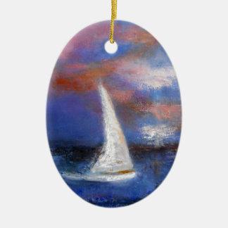 Peinture de paysage marin de voile de port de ornement ovale en céramique