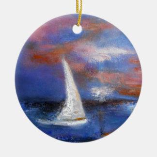 Peinture de paysage marin de voile de port de ornement rond en céramique