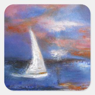 Peinture de paysage marin de voile de port de sticker carré