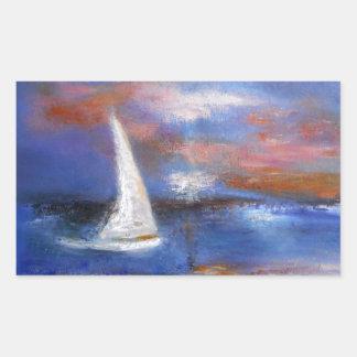 Peinture de paysage marin de voile de port de sticker rectangulaire