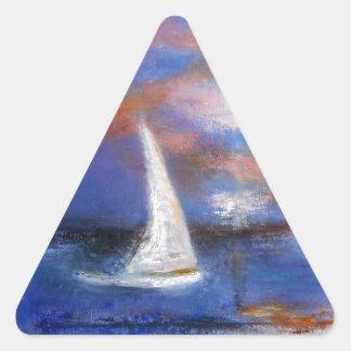 Peinture de paysage marin de voile de port de sticker triangulaire