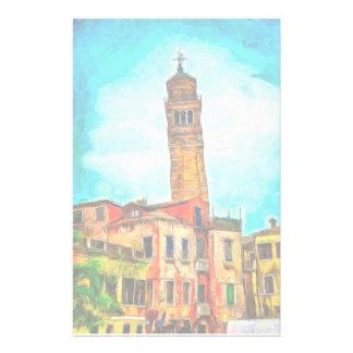 Peinture de penchement d'église, Venise Papier À Lettre Personnalisé
