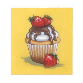 Peinture de petit gâteau, chocolat, fraises, art bloc-note