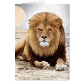 Peinture de photo d'océan de lion carte de vœux