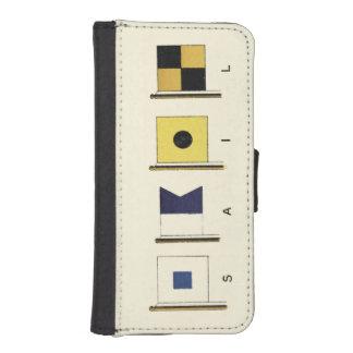 Peinture de quatre drapeaux avec la voile écrite coque avec portefeuille pour iPhone 5