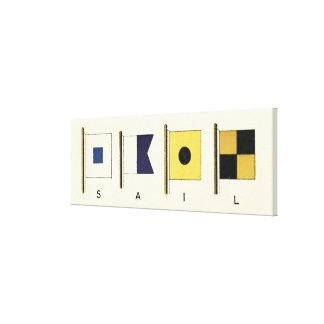 Peinture de quatre drapeaux avec la voile écrite toile