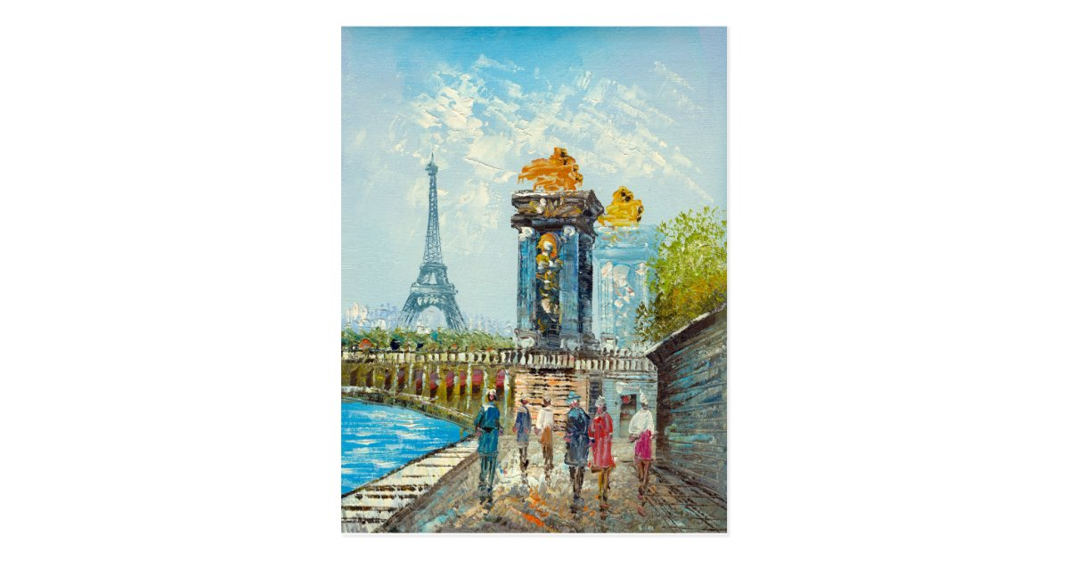 peinture de sc ne de tour eiffel de paris carte postale. Black Bedroom Furniture Sets. Home Design Ideas