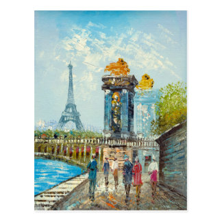 peinture de tour eiffel cartes postales. Black Bedroom Furniture Sets. Home Design Ideas