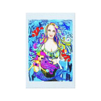 Peinture de sirène, portrait, belle coutume de toile