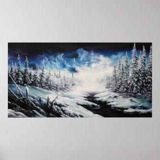 Peinture de toile de scène de neige de lune d'hive posters