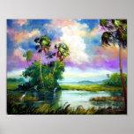 Peinture de vent de marais de la Floride Poster