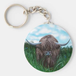 Peinture des montagnes écossaise de vache porte-clé rond