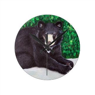 Peinture d'ours noir horloge ronde