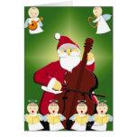 Peinture du père noël jouant le violoncelle avec carte