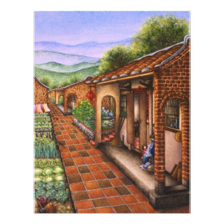 Peinture d'un village de chinois traditionnel prospectus personnalisés