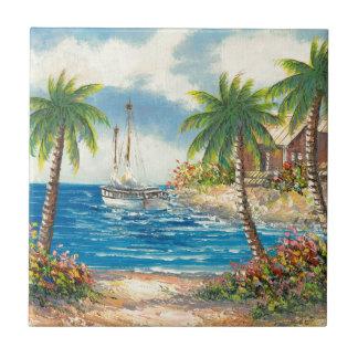 Peinture d'un voilier en Hawaï Petit Carreau Carré