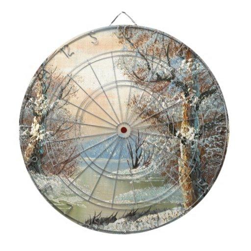 Peinture d'une forêt et d'une rivière d'hiver jeux de fléchettes