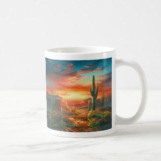 Peinture d'une peinture colorée de coucher du mug