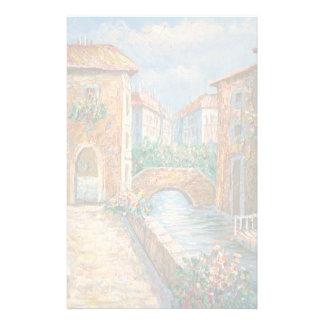 Peinture d'une rue d'autrefois de Venise Papier À Lettre Customisable