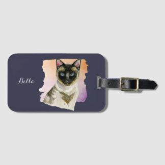 Peinture élégante d'aquarelle de chat siamois étiquette pour bagages