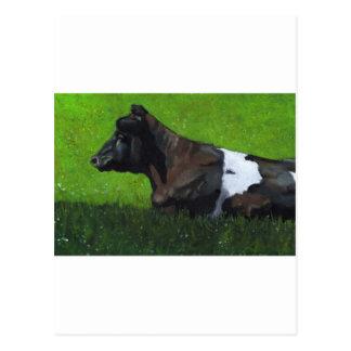 Peinture en pastel de vache du Holstein en soleil Carte Postale
