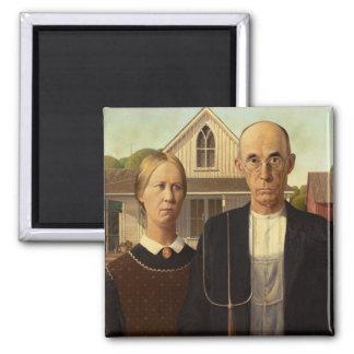 Peinture gothique américaine de beaux-arts de magnet carré