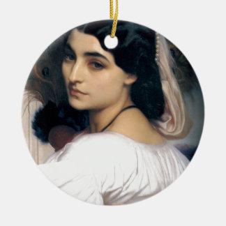 Peinture hispanique d'antiquité de femme de dame ornement rond en céramique