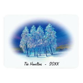Peinture impeccable bleue brumeuse de lumières du carton d'invitation  12,7 cm x 17,78 cm