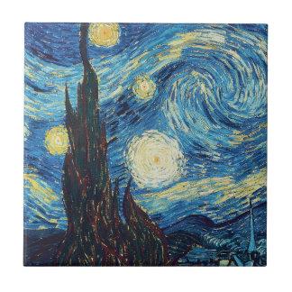 Peinture impressionniste de nuit étoilée de Van Petit Carreau Carré