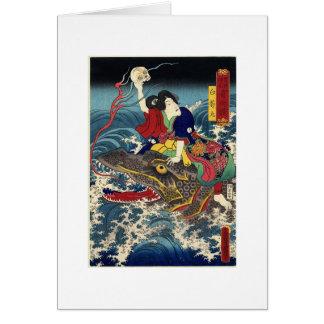 Peinture japonaise antique, équitation japonaise cartes