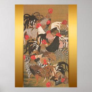 Peinture japonaise de coqs avec l'arrière - plan posters