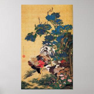 Peinture japonaise pendant l'année du coq P 2017 Posters