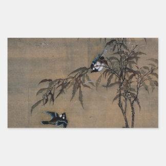 Peinture japonaise vintage de deux oiseaux sur des