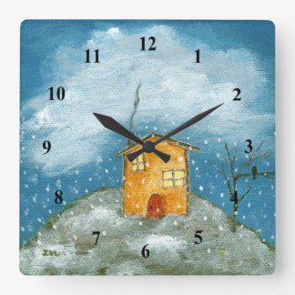 Peinture lunatique d'art populaire d'arbre de horloge carrée