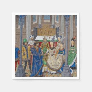 Peinture médiévale de mariage de métis serviette jetable
