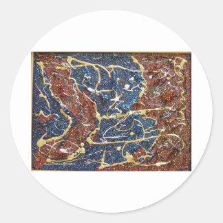 Peinture métallique de continents sticker rond