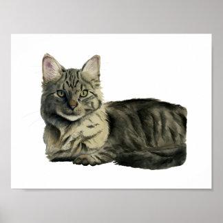 Peinture moyenne domestique d'aquarelle de chat de posters